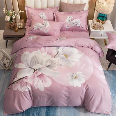 2020全棉13372大阪匹马棉四件套 2.0m(6.6英尺)床 万紫千红粉