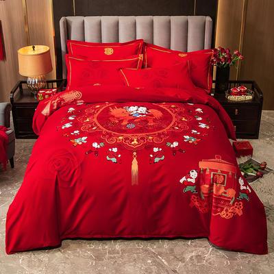 2020秋冬新款-婚庆磨毛系列四件套 床单款四件套1.8m(6英尺)床 百子纳福