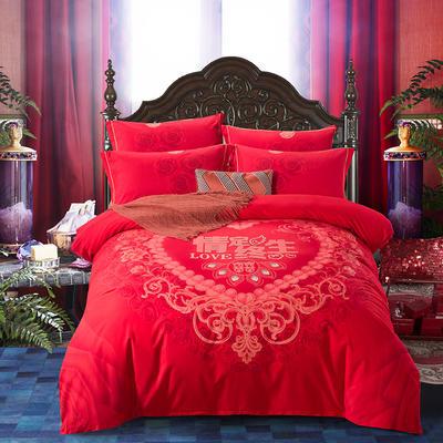 2020秋冬新款-婚庆磨毛系列四件套 床单款四件套1.8m(6英尺)床 情定终生