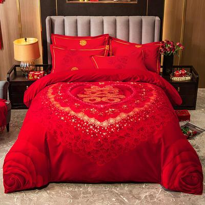 2020秋冬新款-婚庆磨毛系列四件套 床单款四件套1.8m(6英尺)床 甜蜜期待