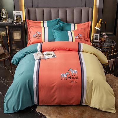 2020新款-大版生态磨毛四件套 床单款四件套1.5m(5英尺)床 彩云