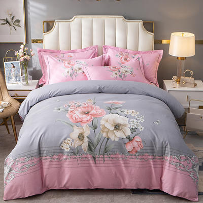 2020新款-大版生态磨毛四件套 床单款四件套1.8m(6英尺)床 花满楼