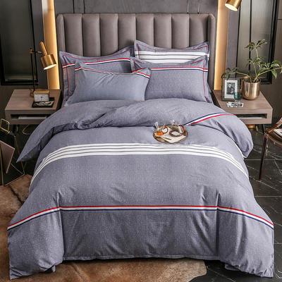 2020秋冬新款-多规格全棉磨毛四件套 床单款三件套1.2m(4英尺)床 布鲁斯 灰