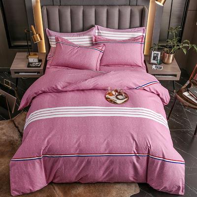 2020秋冬新款-多规格全棉磨毛四件套 床单款三件套1.2m(4英尺)床 布鲁斯红