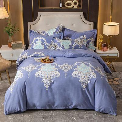 2020秋冬新款-多规格全棉磨毛四件套 床单款四件套1.8m(6英尺)床 富丽雅居 兰