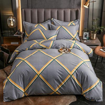 2020秋冬新款-多规格全棉磨毛四件套 床单款三件套1.2m(4英尺)床 格瑞斯 灰