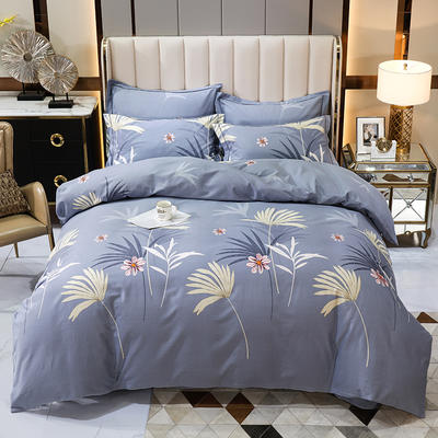 2020秋冬新款-多规格全棉磨毛四件套 床单款四件套1.8m(6英尺)床 花枝曼舞灰