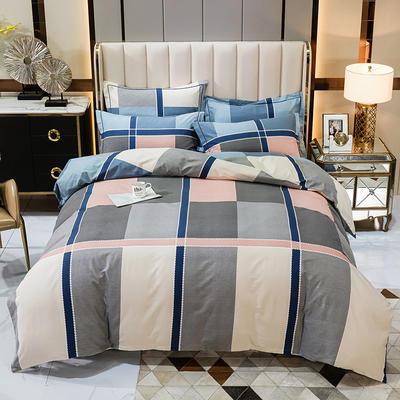 2020秋冬新款-多规格全棉磨毛四件套 床单款四件套1.5m(5英尺)床 简约时光