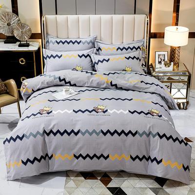2020秋冬新款-多规格全棉磨毛四件套 床单款三件套1.2m(4英尺)床 可爱熊