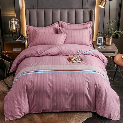 2020秋冬新款-多规格全棉磨毛四件套 床单款四件套1.8m(6英尺)床 漫步时光红