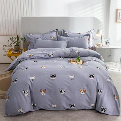 2020秋冬新款-多规格全棉磨毛四件套 床单款三件套1.2m(4英尺)床 萌小汪