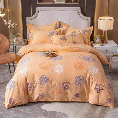 2020秋冬新款-多规格全棉磨毛四件套 床单款三件套1.2m(4英尺)床 蒲公英之恋 桔