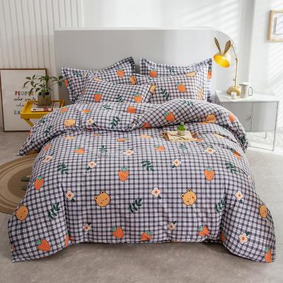 2020秋冬新款-多规格全棉磨毛四件套 床单款三件套1.2m(4英尺)床 童趣灰