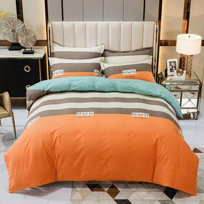 2020秋冬新款-多规格全棉磨毛四件套 床单款四件套1.8m(6英尺)床 休闲人生