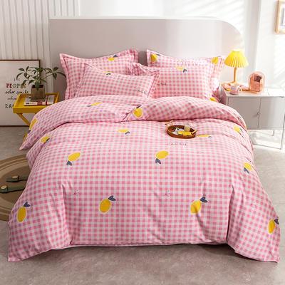 2020秋冬新款-多规格全棉磨毛四件套 床单款三件套1.2m(4英尺)床 休闲时光粉