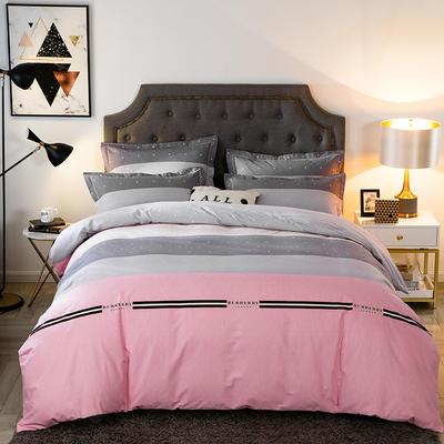 2020秋冬新款-多规格全棉磨毛四件套 床单款四件套1.5m(5英尺)床 雅致生活-粉