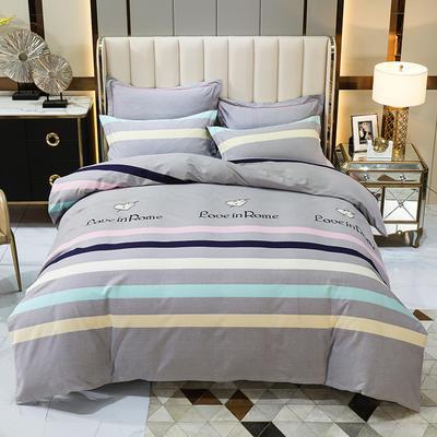2020秋冬新款-多规格全棉磨毛四件套 床单款四件套1.8m(6英尺)床 一见倾心