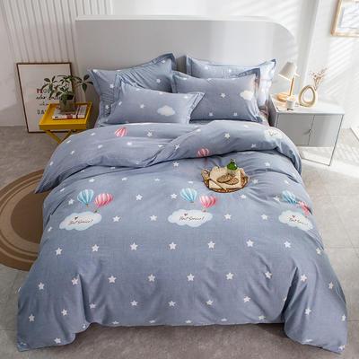 2020秋冬新款-多规格全棉磨毛四件套 床单款三件套1.2m(4英尺)床 自由天空 灰