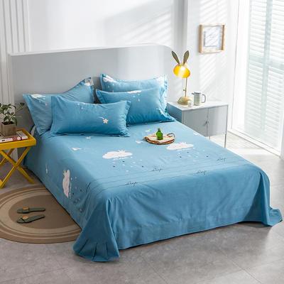 2020新款-多规格全棉磨毛单床单 180*240 云朵蓝