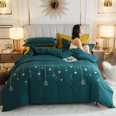2020新款-绣花磨毛工艺款四件套 1.5m床单款四件套 2星语心愿 宝石绿