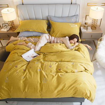 2020新款-绣花磨毛工艺款四件套 1.5m床单款四件套 2星语心愿-黄