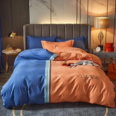 2020新款-绣花磨毛工艺款四件套 1.8m床单款四件套 特里斯 - 桔蓝