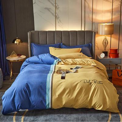 2020新款-绣花磨毛工艺款四件套 1.8m床单款四件套 特里斯 - 蓝黄