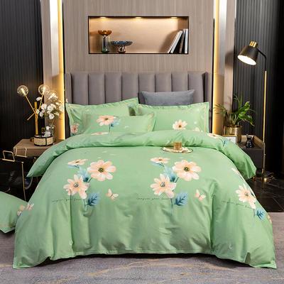 2021春夏新款-13372印花四件套 1.8m被套加大床单款四件套 迷人花香绿