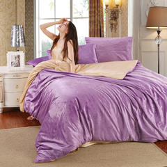 17年天鹅绒四件套 1.5m(5英尺)床 浅紫驼色