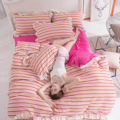 17年新款A版植物羊绒B版天鹅绒 1.5m(5英尺)床 三色条纹-玫红