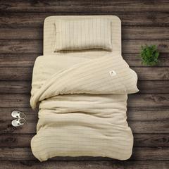 今日特卖 快乐迪 纯棉色织水洗双层纱布儿童三件套床单 被套 枕套儿童床品柔软舒适 120*150cm 咖色