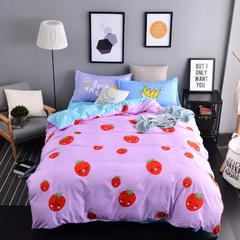 平纹混搭四件套 1.2m(4英尺)床 可爱草莓