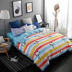 平纹混搭四件套 1.2m(4英尺)床 快乐熊猫-1