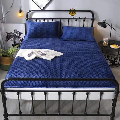 2020新款水晶绒乳胶床垫 1.8m 深蓝色