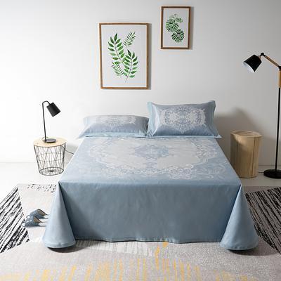 可机洗冰丝提花凉席床单款 250*250cm 皇冠蓝