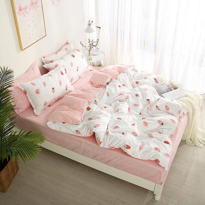 2019新款-芦荟棉单品被套模特图 1.5被套150x200cm 草莓爱恋-粉1