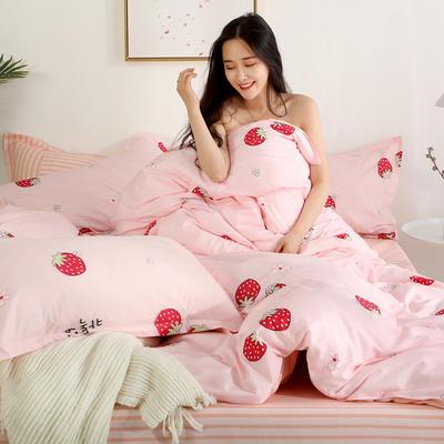 2019新款-芦荟棉四件套模特图 1.5m三件套 草莓派