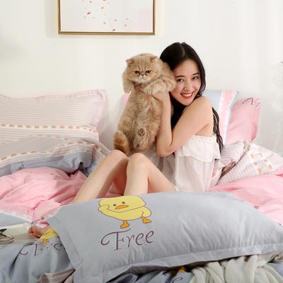 2019新款-芦荟棉四件套模特图 1.5m三件套 小鸭安吉