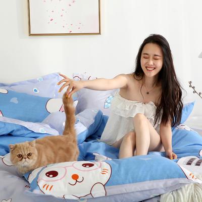 2019新款-芦荟棉四件套模特图 1.5m三件套 眼睛小兔