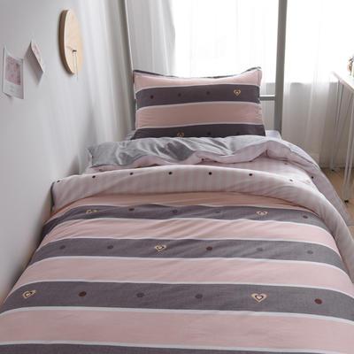 2019新款-芦荟棉高低床单被套 150x200cm 比心-咖