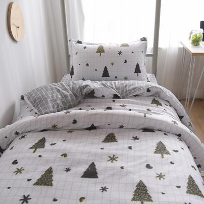 2019新款-芦荟棉高低床单被套 150x200cm 圣诞节