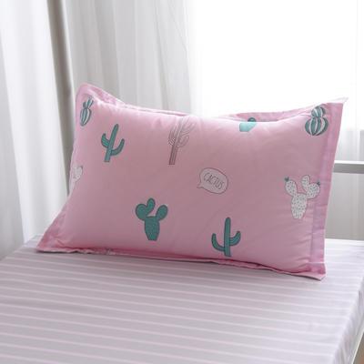 2019新款-芦荟棉高低床单枕套 46cmX72cm/一对 仙人掌