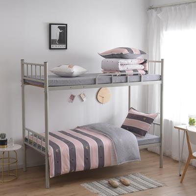 2021新款-芦荟棉三件套高低床 三件套1.5m床 比心-咖