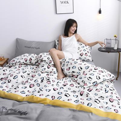 2019新款-90克仿棉四件套 床单款三件套1.2m(4英尺)床 豹纹-白