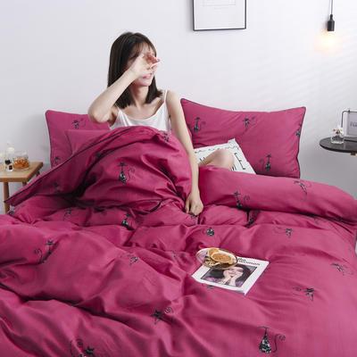 2019新款-90克仿棉四件套 床单款三件套1.2m(4英尺)床 优雅-大红