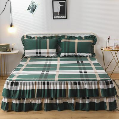 2019新款-全棉磨毛单床裙 120cmx200cm 卡莱亚-绿