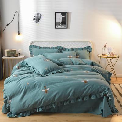 2019新款-全棉磨毛四件套 床裙款被套加大1.8m(6英尺)床 爱的星晴-绿