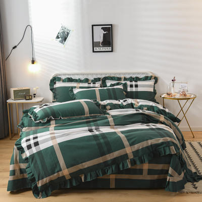 2019新款-全棉磨毛四件套 床裙款被套加大1.8m(6英尺)床 卡莱亚-绿