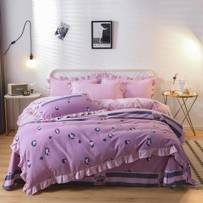2019新款-全棉磨毛四件套 床裙款被套加大1.8m(6英尺)床 卡萝琳-红