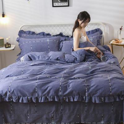2019新款-全棉磨毛四件套 床裙款被套加大1.8m(6英尺)床 快乐礼物-蓝